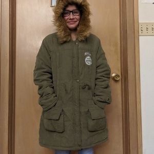 Phalabeier Patched Faux Fur Collar Hooded Parkas